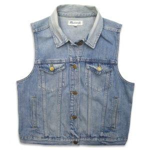 Madewell L The Jean Vest Light Blue Cotton Denim